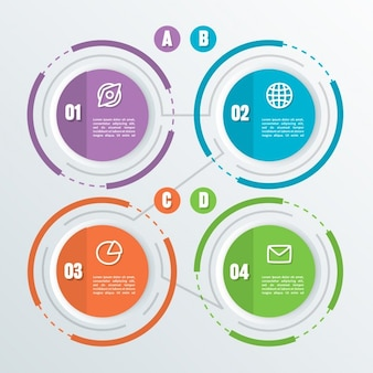 Four circular options with icons for infographics
