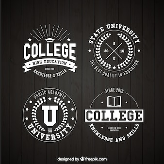 Four college badges in vintage style