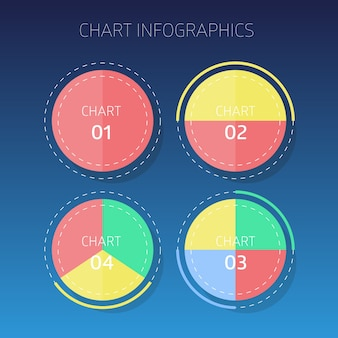 Four color chart infographics