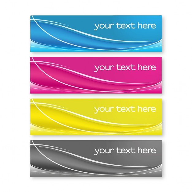 Four colorful banners with wavy lines