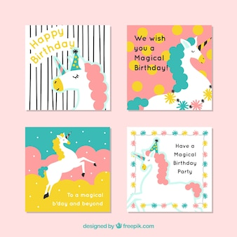 Four cute birthday cards with unicorns