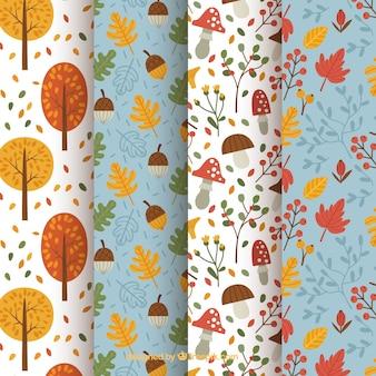 Four cute patterns, autumn elements