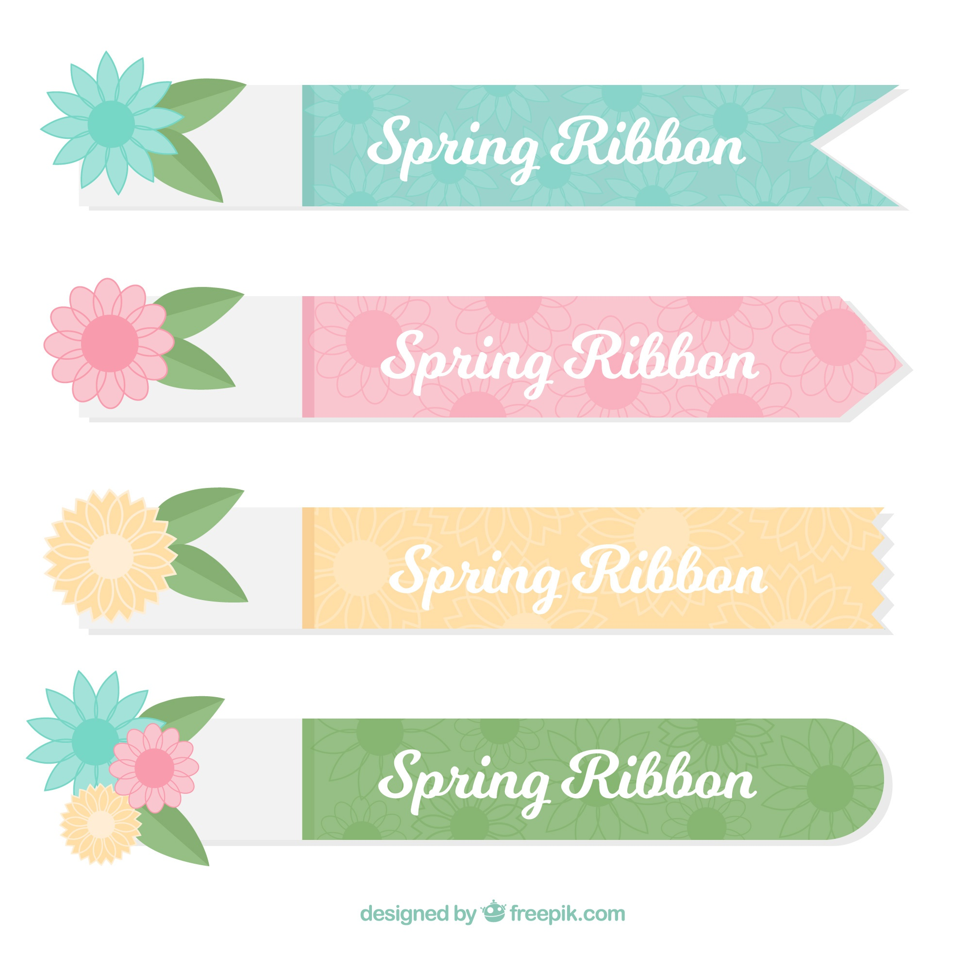 Four decorative spring ribbons in pastel colors