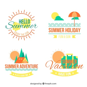 Four decorative summer stickers