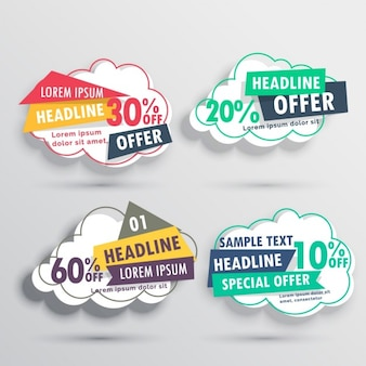 Four discount vouchers with cloud shape