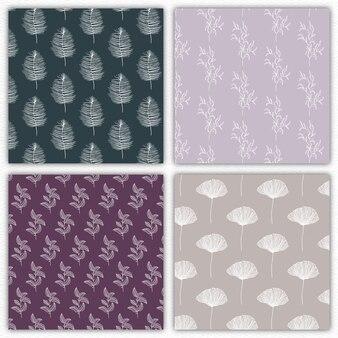 Four editable floral patterns