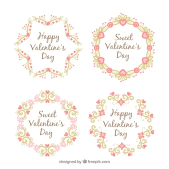 Four floral wreaths with beautiful designs for valentine's day