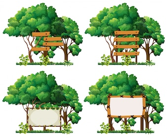 Four frame templates on big trees illustration