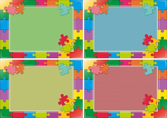 Four frames design with jigsaw puzzle