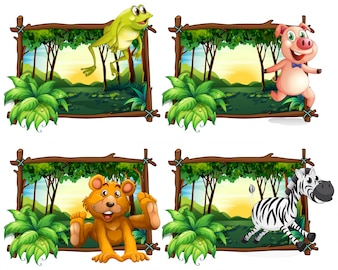 ジャングルイラストの野生動物の4つのフレーム