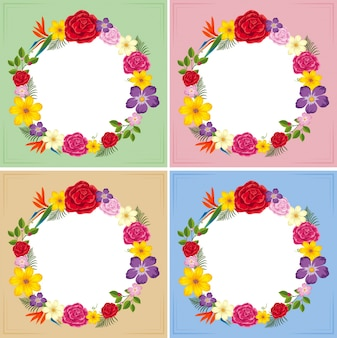 カラフルな花の4つのフレームのテンプレート