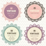 Four frames with vintage ornaments