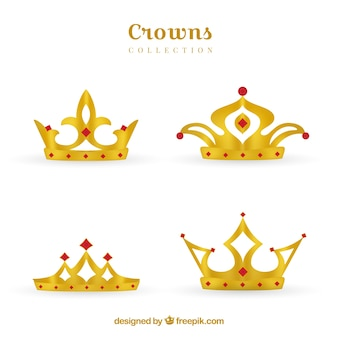 Four gold crowns with precious stones