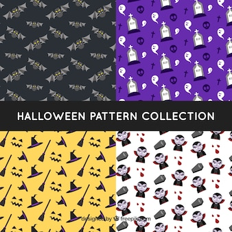 Four halloween patterns with elements
