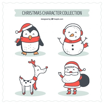Four hand drawn christmas characters
