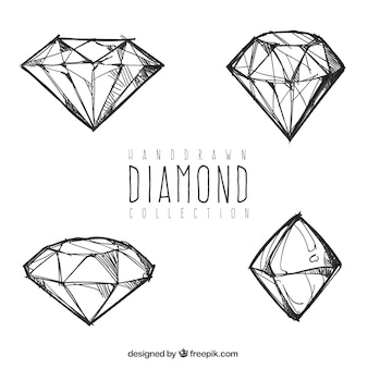 Four hand drawn diamonds