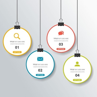 Four hanging options for infographics