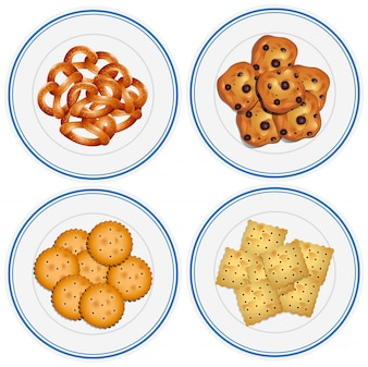 Four kids on snacks on the plates illustration