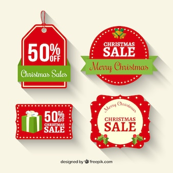 Four labels for christmas sales
