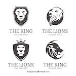 Four lion logos, black and white