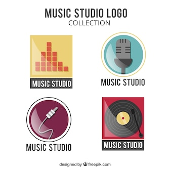 Four logos for a music studio