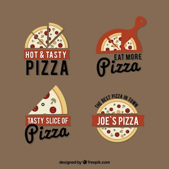 Four logos for pizza on a brown background