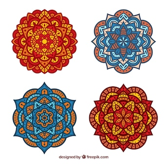 Four mandalas in flat design