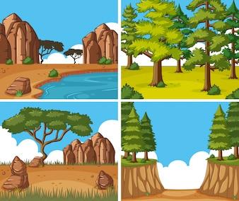 昼の4つの自然の風景