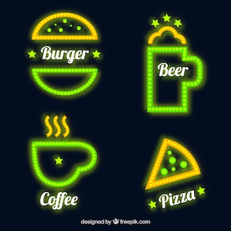 Four neon signs for coffee shop and restaurant