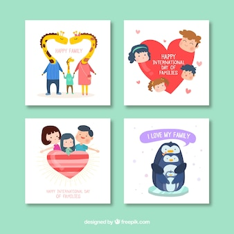 Four nice happy family day cards