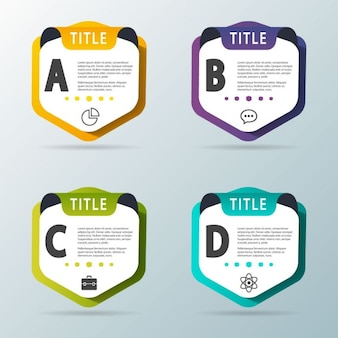 Four options as a shields for infographics
