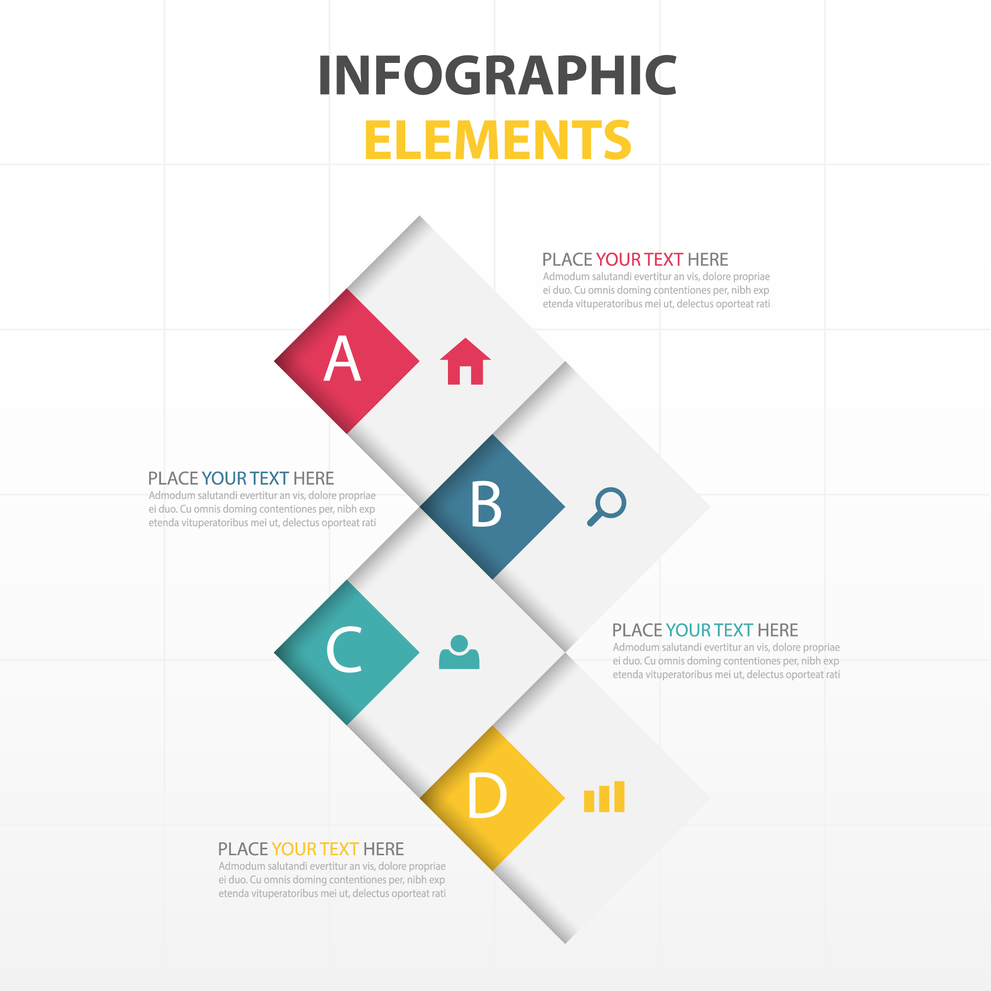 Four options for infographics with geometric shapes