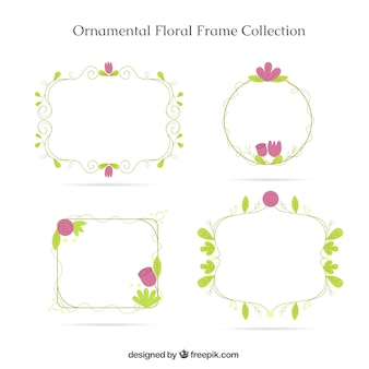 Four ornamental frames with flowers