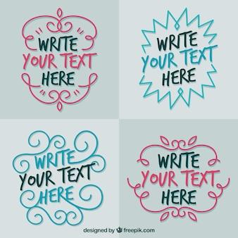 4つの装飾的な手書きのテキストテンプレート