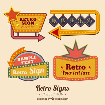 Four outdoor signs, retro style