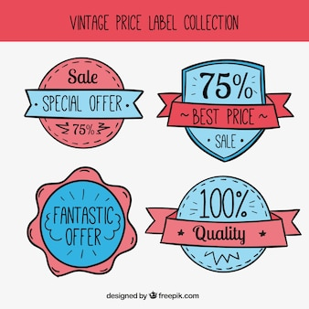 Four-pack special price stickers in vintage design