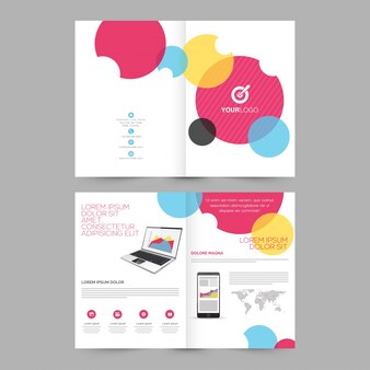 Four pages Brochure, Template design with illustration of laptop and smartphone for Business concept.