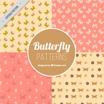 Four patterns of butterflies in pastel colors