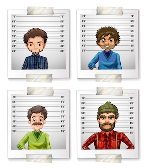 IDカードイラストの男性の写真4枚