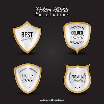 Four premium golden shields