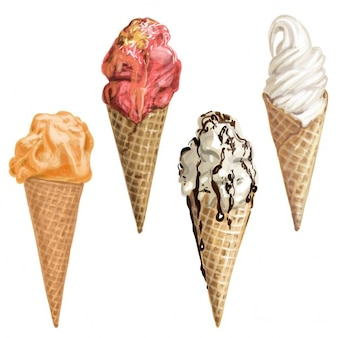 Four realistic ice creams