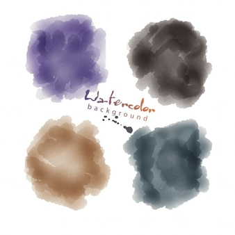 Four realistic watercolor stains