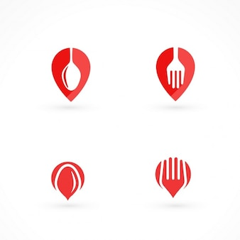 Four red logos for food at home