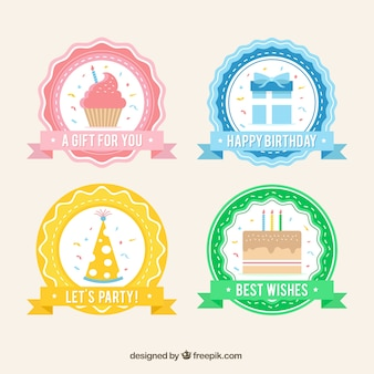 Four retro birthday stickers