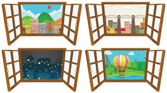 Four scenes from the window illustration