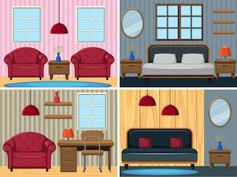 家の中の4つの場面
