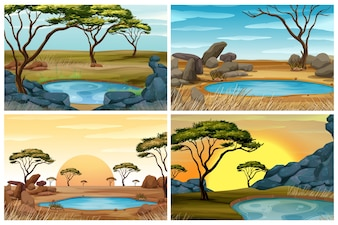 Four scenes of savanna field with waterhole