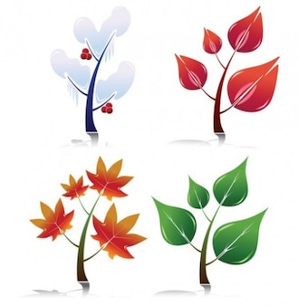 Four seasons leaf shapes vector pack