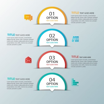 Four semicircular options for infographics