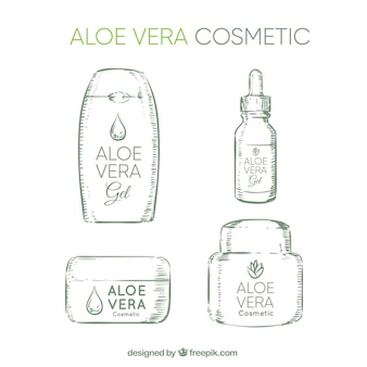 Four sketches of aloe vera cosmetics